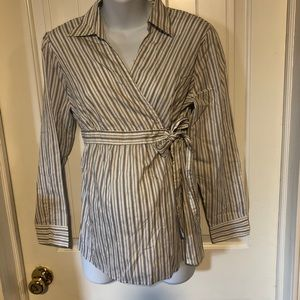 Two Hearts maternity striped empire waist top L